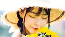 向日葵少女陽光藝術照 頭戴漁夫帽清新可愛