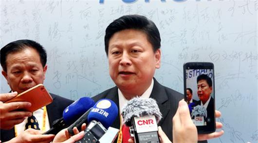 6日上午,第十屆海峽論壇大會在廈門市舉行,臺灣花蓮縣長傅崐萁出席論壇大會並在會……