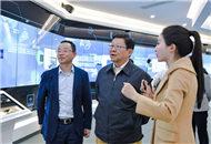 海協會會長陳德銘(中)參觀菁蓉鎮創新展覽中心