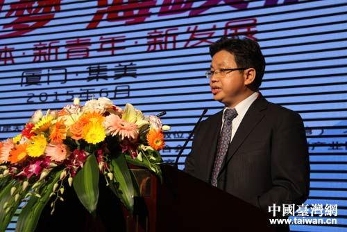 全國臺聯副會長楊毅周出席論壇並致辭。(台灣網 何建峰 攝)