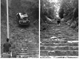 越野車玩爬坡損壞石梯 圍觀人賭錢歡呼